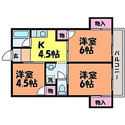 愛媛県松山市竹原3丁目の賃貸マンションの間取り