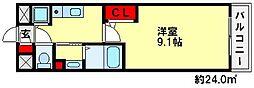 ロールベール別府[5階]の間取り