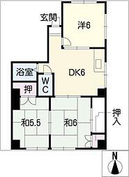 大治キャッスルマンション[2階]の間取り