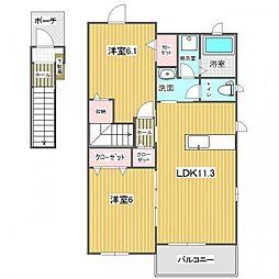プリンセッサ E[2階]の間取り