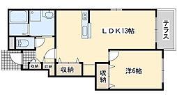 南海線 尾崎駅 徒歩17分の賃貸アパート 1階1LDKの間取り