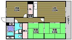 野浦ハイツ[2階]の間取り