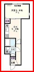 東京都文京区湯島2丁目の賃貸アパートの間取り