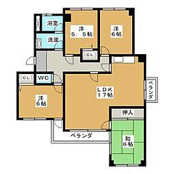愛知県名古屋市名東区よもぎ台2丁目の賃貸マンションの間取り