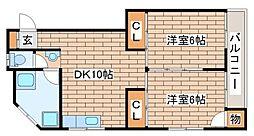 兵庫県神戸市須磨区白川台3丁目の賃貸マンションの間取り
