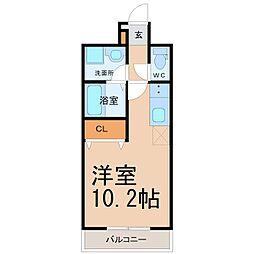 名古屋市営桜通線 野並駅 徒歩2分の賃貸マンション 3階ワンルームの間取り