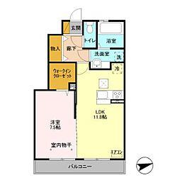 仮)D-room下貝塚[102号室]の間取り