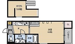 Osaka Metro今里筋線 鴫野駅 徒歩7分の賃貸アパート 2階1Kの間取り