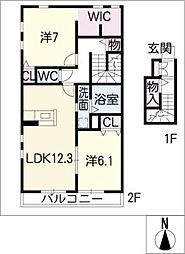 愛知県名古屋市緑区大将ケ根2丁目の賃貸アパートの間取り