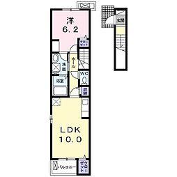 アクア・クレメント七番館 2階1LDKの間取り