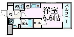 甲子園ガーデンズ 3階ワンルームの間取り