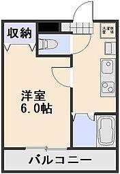 JR宇野線 大元駅 徒歩8分の賃貸アパート 1階1Kの間取り