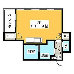 グローリア広明 3階ワンルームの間取り