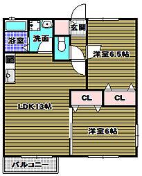 ラ・カンパーニュ[1階]の間取り