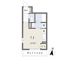 JR東海道本線 平塚駅 徒歩7分の賃貸アパート 3階ワンルームの間取り