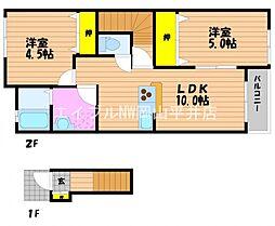 JR宇野線 妹尾駅 徒歩34分の賃貸アパート 2階2LDKの間取り