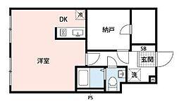 都営新宿線 曙橋駅 徒歩5分の賃貸マンション 2階1DKの間取り