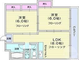 グレース大所 3階2LDKの間取り