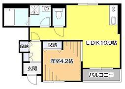 東京都東大和市狭山5丁目の賃貸アパートの間取り