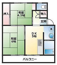 ビレッジハウス直方 5号棟[1階]の間取り