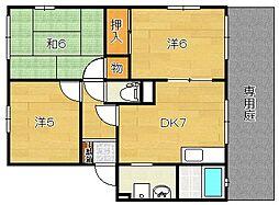 大阪府茨木市春日3丁目の賃貸アパートの間取り