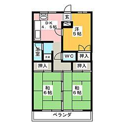 國枝ハイツ[3階]の間取り