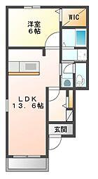 JR山陽本線 瀬戸駅 5.4kmの賃貸アパート 1階1LDKの間取り