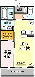 JR山陽本線 高島駅 徒歩6分の賃貸マンション 2階1LDKの間取り