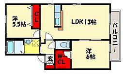 クレストハイツIII[2階]の間取り