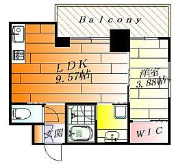 ノルデンタワー江坂プレミアム 5階1LDKの間取り