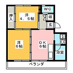 ビレッジハウス小瀬 2号棟[1階]の間取り