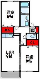 福岡県古賀市庄の賃貸アパートの間取り
