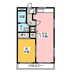 サン・アップマンション 2階1LDKの間取り