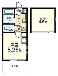 東京都中野区上高田5丁目の賃貸アパートの間取り