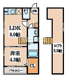 ハーモニーテラス黒土[2階]の間取り