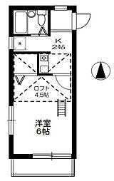 神奈川県伊勢原市沼目4丁目の賃貸アパートの間取り