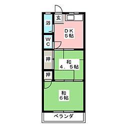 コーポ城見[2階]の間取り