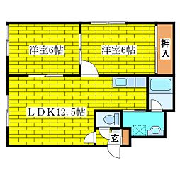 ルミエールアオヤマ[2階]の間取り