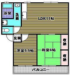 ソファレ錦織[2階]の間取り