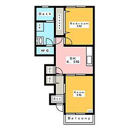 リブレアヒルズ A館 1階2DKの間取り