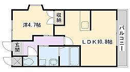 兵庫県姫路市広畑区西蒲田下野の賃貸アパートの間取り