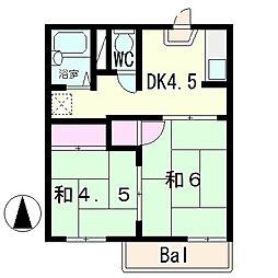 西矢倉ハイツA棟[2階]の間取り