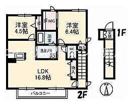 岡山県倉敷市浜ノ茶屋2丁目の賃貸アパートの間取り