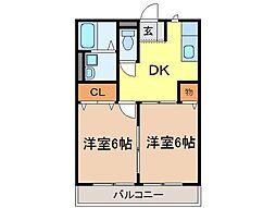 静岡県富士宮市万野原新田の賃貸アパートの間取り