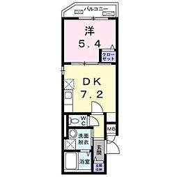 東京メトロ副都心線 雑司が谷駅 徒歩8分の賃貸マンション 1階1DKの間取り