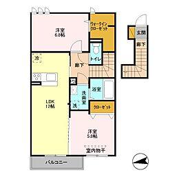 埼玉県春日部市緑町3丁目の賃貸アパートの間取り