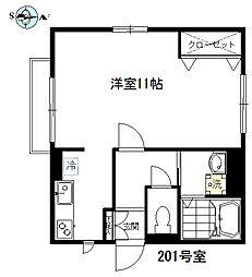 東京都目黒区原町1丁目の賃貸アパートの間取り