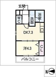 仮)中杉町1丁目新築アパートA棟[3階]の間取り