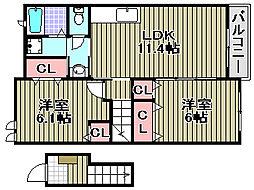 大阪府岸和田市池尻町の賃貸アパートの間取り