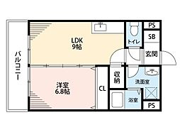 筑豊電気鉄道 熊西駅 徒歩2分の賃貸マンション 4階1LDKの間取り
